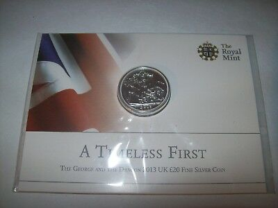 NEW ROYAL MINT - The St George and the Dragon 2013 UK £20 Fine Silver Coin