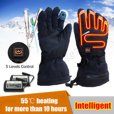 Electric Heated Gloves Outdoor Winter Warmer Leather Rechargeable Li-ion Battery