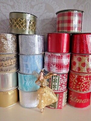 Gisela Graham Christmas Ribbon Wide Wired Edge 9 Metre Reel Gift Wrap Present