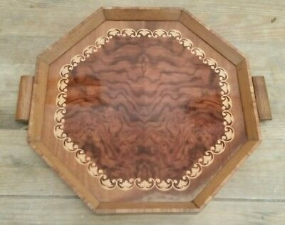Vintage 1940s wooden hand tray laminate and wood sturdy handles octagonal design