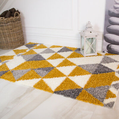 Ochre Yellow Grey Geometric Shaggy Rugs Small Large Non Shed Living Room Rug NEW