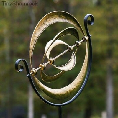 Garden Wind Spinner Kinetic Bronze Cosmic Circles Lawn Stake Modern Contemporary