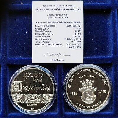 Hungary 2018 450th Anniversary of the Unitarian  10000 Forint, Proof Silver UNC
