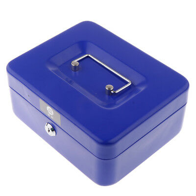 Cash Box Money Tray Lock Metal Locking Money Box 2 Keys Key Blue Medium