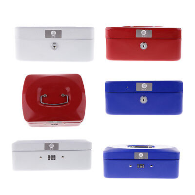 Cash Box with Money Tray and Lock, Metal Locking Money Box 2 Keys