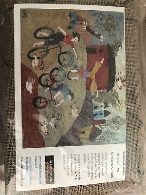 """WOMENS ON WHEELS"" Sharon A Smith Hook Wool Rug Design, 30x39, Retail $92"