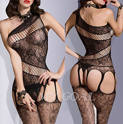 Super Sexy Lingerie Bodystocking Dress Suspender Garter Crotchless Babydoll 6-12