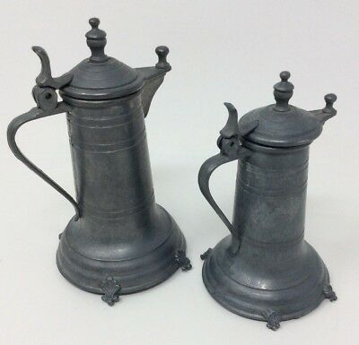 German Antique Small Pewter Jugs 14 and 9 cms Tall