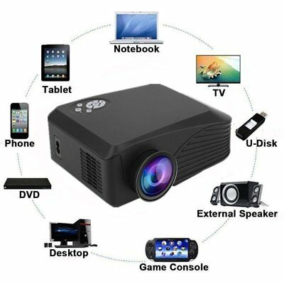 4K HD 1080P 7000 Lumens 3D Projector Home Theater LED PC AV VGA USB TF HDMI MY