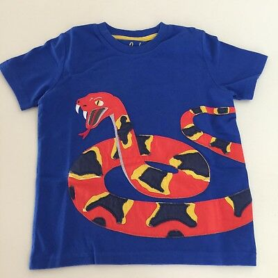 "Mini Boden Awesome Boys Royal Blue ""SNAKE"" Short Sleeve Shirt.  3-4 years NEW!!"