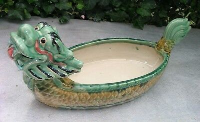 """Vintage Chinese Foo Lion Fu Dog Ceramic Planter Green and Yellow 19"""" Long"""