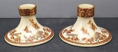 Pair of Japanese Satsuma Handle Holders Signed