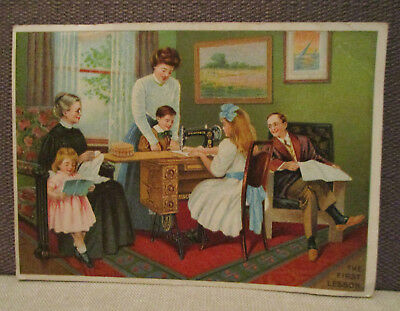 Vintage Advertise-SINGER SEWING MACHINE NO. 66-Paper Trade Card-Girl Sew Lesson