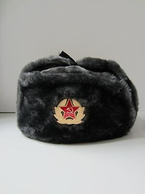 Russian military winter fur hat Ushanka with Soviet badge, size L, color gray