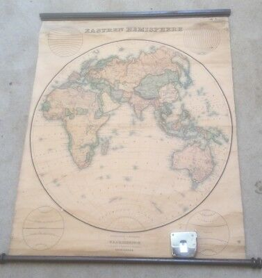 Eastern Hemisphere By W & A K Johnston Victorian Antique School Roll Down Map