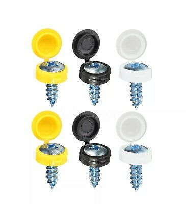 Number Plate Car Fixing Fitting Caps Black & White Free Screws Included Uk X4