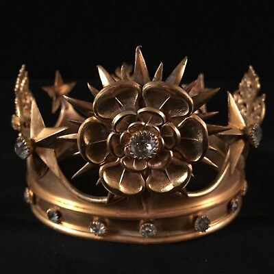 Antique French gilded bronze crown Madonna with diamond shaped cut glass jewels