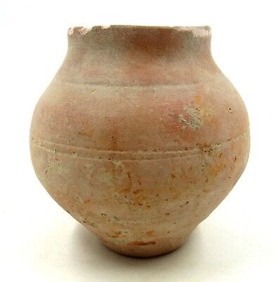 Authentic Ancient Roman Legionary Terracotta Redware Jar -  L653