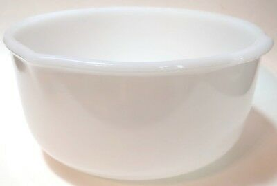 Vintage Glasbake Milk Glass Sunbeam Mixing Batter Bowl w/ Spout & Handles Large