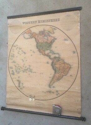 Western Hemisphere By W & A K Johnston Victorian Antique School Roll Down Map