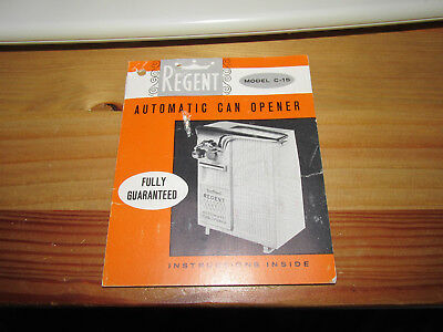 Regent Automatic Can Opener Model C-15 Booklet
