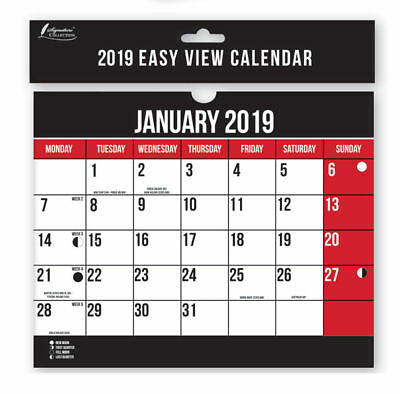 2019 Calendar Easy View Monthly Spiral Bound Wall Planner
