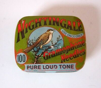 NIGHTINGALE Gramophone Needles Empty TIN w/Bird-Made in England-NICE Condition!
