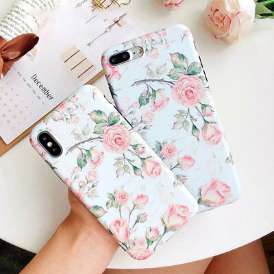 For iPhone 8 7 6 6s Plus X Rose Floral Pattern Rubber Soft Slim Phone Case Cover