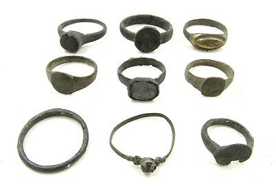 Authentic Lot Of 9 Ancient Roman / Medieval Bronze Rings - Wearable - H299