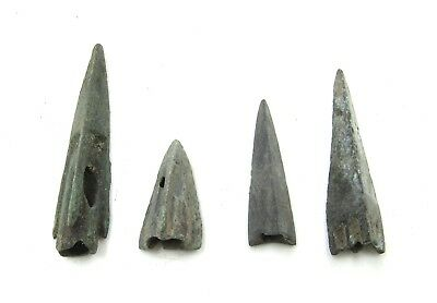 Authentic Lot Of 4 Ancient Scythian Bronze Arrow Heads - H307
