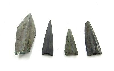 Authentic Lot Of 4 Ancient Scythian Bronze Arrow Heads - H308