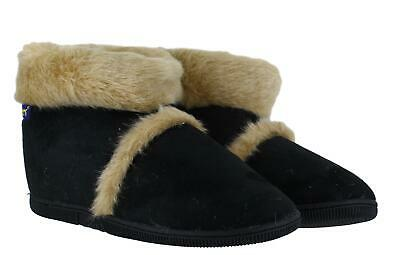 Coolers Mens Black Hard Sole Warm Lined Furry Slippers Ankle Boots