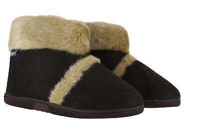 Coolers Mens Brown Hard Sole Warm Lined Furry Slippers Ankle Boots