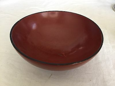 Vintage Chinese / Japanese Red Lacquered Ware Wood / Paper Mache Bowl