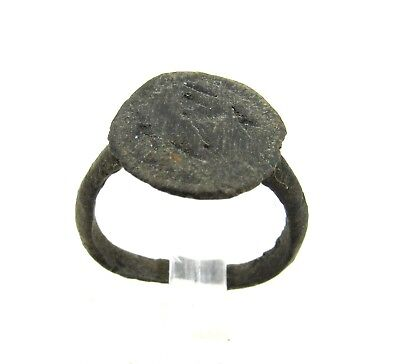 Authentic Medieval Viking Era Bronze Ring W/ Runic Decoration - Wearable - H319