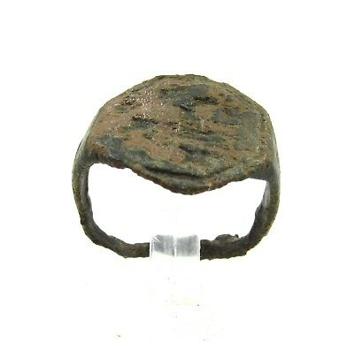 Authentic Medieval Viking Era Bronze Ring W/ Beast - Wearable - H320