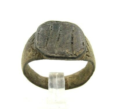 Authentic Medieval Viking Era Bronze Ring W/ Runic Decoration - Wearable - H322