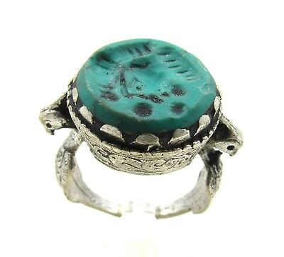Authentic Post Medieval Silver Ring W/ Intaglio Bust - Wearable - H324