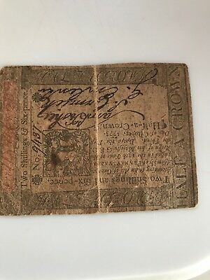 Colonial Currency. October 6, 1773 ? Two Shillings Six Pence x album see photos