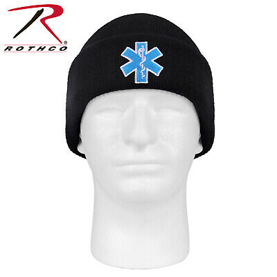 Black Embroidered Star Of Life EMT Acrylic Beanie Winter Watch Cap 5346 Rothco