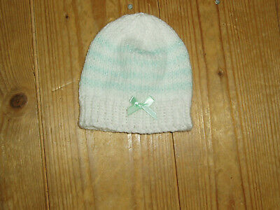 76bdcc0c1d6 NEW HAND KNITTED baby hat white with lemon border   bow size Newborn ...