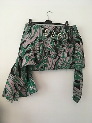 Marques Almeida mini skirt green pink black belt buckle 14 New with tags
