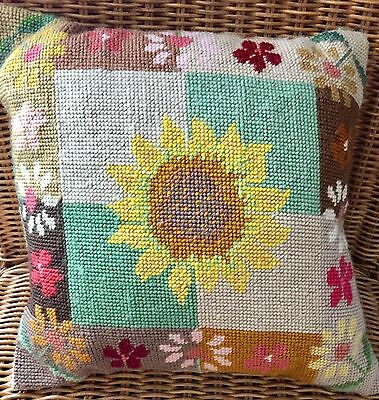 "GOODLUXE ""SUNFLOWER"" NEEDLEPOINT CUSHION in PURE WOOL 12"" x12"" HANDMADE!"