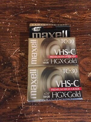 New Maxell VHS-C HGX-Gold TC-30 Camcorder Video Tape Cassette VHSC