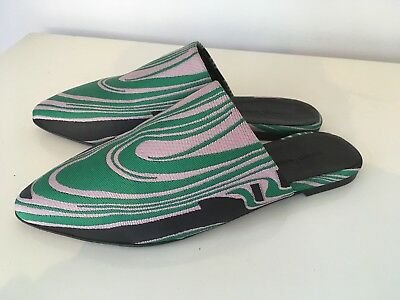 Marques Almeida flat slip on mules shoes 40 7 green black pink NEW WITH BOX