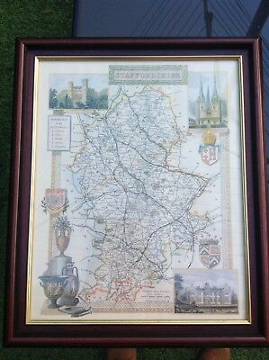 Print Of Antique Staffordshire County Map In Frame