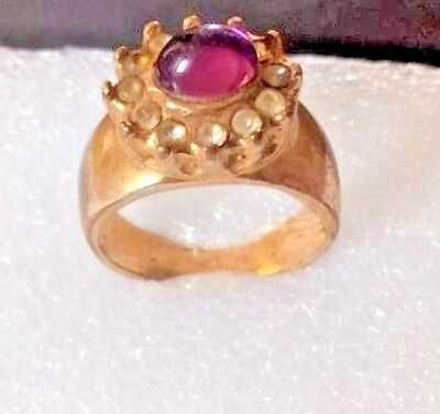 Christmas Gift, Ancient Solid Roman Old Bronze FABULOUS Ring Purple Stone Rare