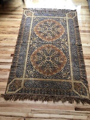 Antique 19th Century Tapestry Tablecloth Wall Hanging Textile Rug 6 Ft 3.5 inch