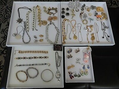 Vintage Lot Estate Costume Jewelry, Necklaces, Earrings, Brooches & Bracelets