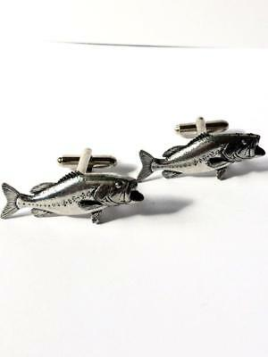 Large Mouth Bass Cufflinks, Handmade in England from English Pewter. Gift Boxed